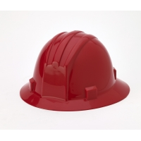 Polyethylene Ratchet Suspension Full Brim Hard Hat, Red