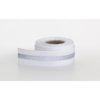 Reflective ribbon, .875 in Wide, .25 in reflective stripe, 5 yds, White