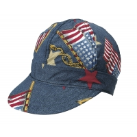 M7349-0-0, Kromer Welder Cap, Cotton, Length 5 in, Width 6 in- 1size, Denim Flag, Mega Safety Mart