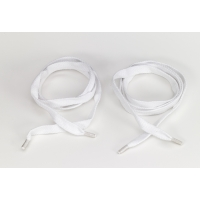 Flat cord 5/8 in tipped laces, 48 in lengths, White