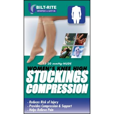 10-70200, Women's Knee High Stockings -15-20 mmHg Black, Mega Safety Mart