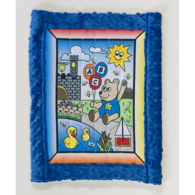 1234-1, Baby quilt kit, Boy Bear w/ blue minkee back 25 x 32, Mutual Industries