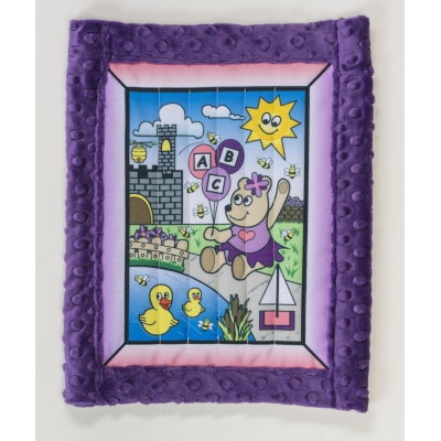 1234-4, Baby quilt kit, Girl Bear w/ purple minkee back 25 x 32, Mutual Industries