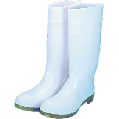 14504-1-12, 16 in. PVC Work Boot Over The Sock, White Plain Toe, Size 12, Mutual Industries