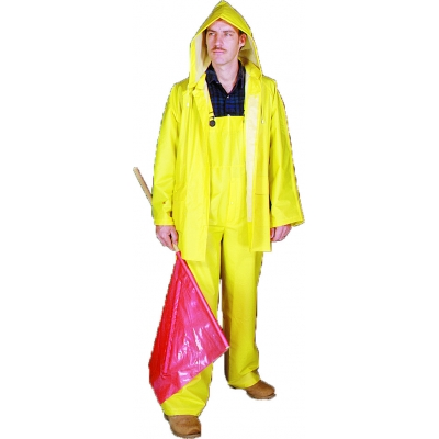14505-0-7, PVC/Polyester 3 Piece Rainsuit, 0.35 mm, 4X-Large, Mega Safety Mart