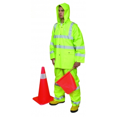 14511-3, 3 Piece PVC/High Visibility Polyester ANSI Class 3 Rain Suit, Large, Lime, Mutual Industries
