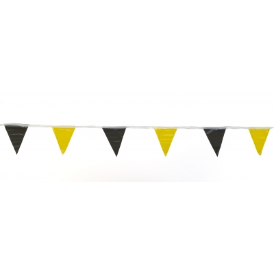 14991-4191, Pennant Banner Flags, 60 ft., Yellow/Black (Pack of 10), Mega Safety Mart