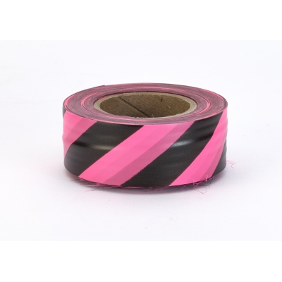 16002-17591-1875, Flagging Tape Ultra Standard, 1-3/16 x 100 YDS, Glow Pink and Black Stripe (Pack of 12), Mega Safety Mart