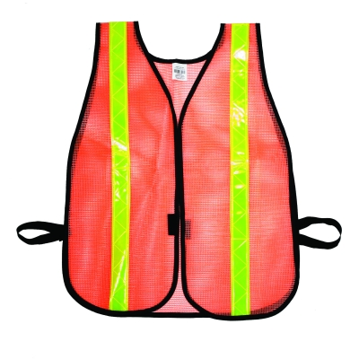 16301-138-1375, High Visibility Vinyl Coated Nylon Mesh Heavy Weight Safety Vest with 1-3/8 Lime Reflective Stripe, Orange, Mutual Industries