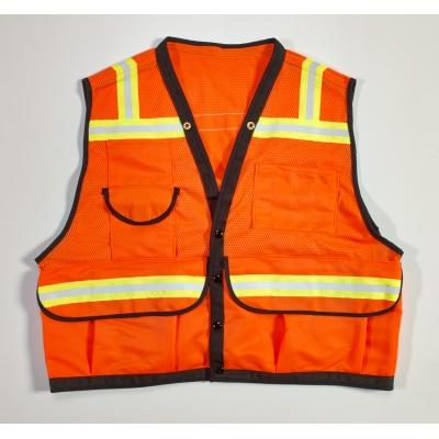 16333-45-6, High Visibility Mesh Super Deluxe Surveyor Vest with 2 Vertical and 2 Horizontal 1-1/2 Lime/Silver/Lime Reflective Stripes, 3X-Large, Orange, Mega Safety Mart