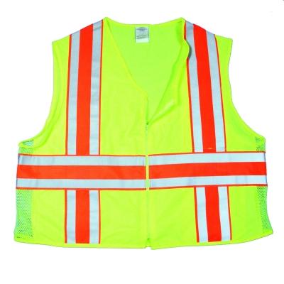 16334-0-3, High Visibility Polyester ANSI Class 2 Deluxe DOT Safety Vest Vest with Pockets, Large, Lime, Mega Safety Mart