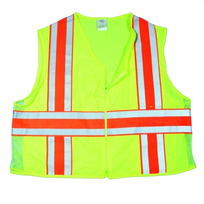 16334-0-6, High Visibility ANSI Class 2 Deluxe Dot Vest with Vertical and Horizontal Silver/Orange/Silver Reflective Stripes, 3X-Large, Lime, Mega Safety Mart