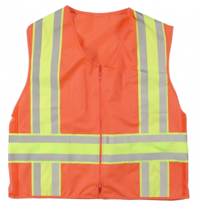 16334-45-7, High Visibility ANSI Class 2 Solid Deluxe DOT Safety Vest With Pockets, XXXX-Large, Orange, Mutual Industries