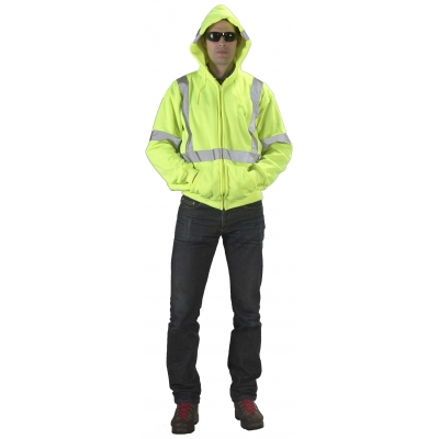 16382-0-6, High Visibility ANSI Class 3 Lime Fleece Hoodie with Reflective Stripes and Zipper, 2XLarge, Mega Safety Mart