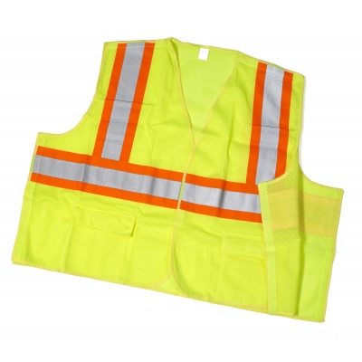 16386-0-7, High Visibility ANSI Class 2 Mesh Tear Away Safety Vest with Pouch Pockets and 4 Orange/Silver/Orange Reflective Tape, 4X-Large, Lime, Mega Safety Mart