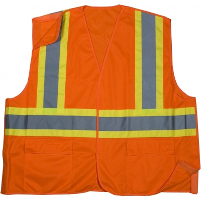 16389-0-6, High Visibility Polyester ANSI Class 2 Solid Tearaway Safety Vest with Pockets and 4 Lime/Silver/Lime Reflective Tape, 3X-Large, Orange, Mega Safety Mart