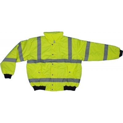 16390-138-6, High Visibility PU Coated ANSI Class 3 Waterproof Bomber Jacket with Hood and Quilted Polyester Lining, 3X-Large, Lime, Mega Safety Mart
