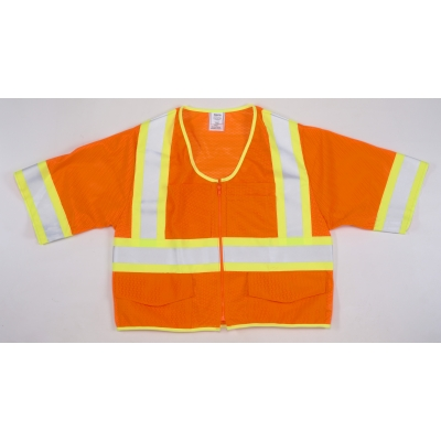 16393-2, High Visibility ANSI Class 3 Mesh Safety Vest with Zipper Closure and Pouch Pockets, Medium, Orange, Mutual Industries