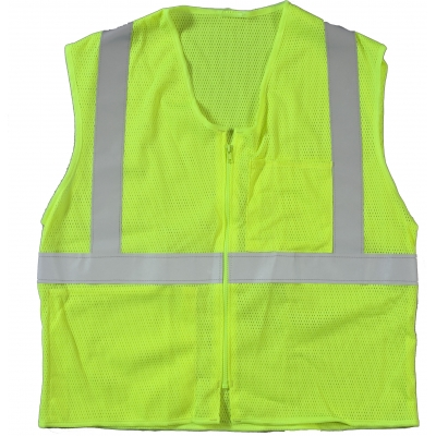17005-139-5, High Visibility ANSI Class 2 Mesh Safety Vest with Zipper Closure and Pockets, 2X-Large/3X-Large, Lime, Mutual Industries