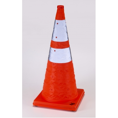 17714-1-128, Nylon Collapsible Traffic Cone, 28 Height, Orange -1PK, Mutual Industries