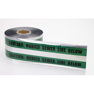 17774-38-6000, Polyethylene Underground Sewer Line Detectable Marking Tape, 1000' Length x 6 Width, Green, Mutual Industries