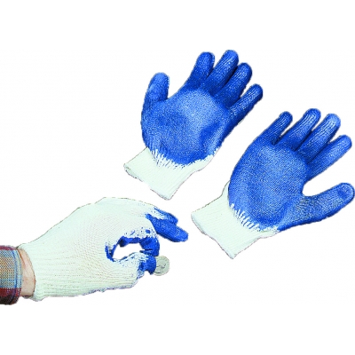 50072-3, Sure Grip Gloves, String Knit with Latex Coated Palm and Fingers, 10 Gauge, Large, White/Blue (Pack of 12), Mutual Industries
