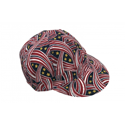7358-0-0, Kromer Welder Cap, Cotton, Length 5 in, Width 6 in- 1size, Red White and Blue Ribbon, Mega Safety Mart