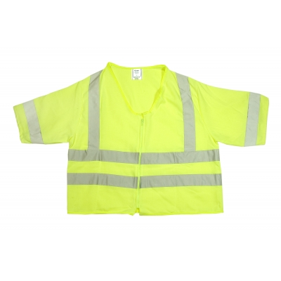 80061-0-102, ANSI Class 3 Durable Flame Retardant Vest, Solid, Lime, Medium, Mutual Industries
