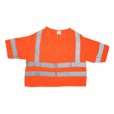 80161-0-102, ANSI Class 3 Durable Flame Retardant Vest, Solid, Orange, Medium, Mega Safety Mart