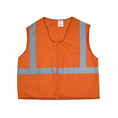 89800-0-103, ANSI Class 2 Durable Flame Retardant Vest, Solid, Orange, Large, Mutual Industries