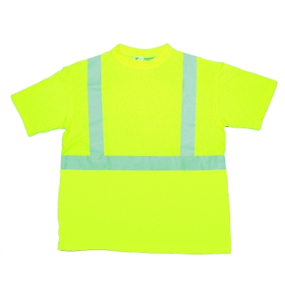 96001-0-107, ANSI Class 2 Durable Flame Retardant T-Shirt, Lime, 4XLarge, Mutual Industries