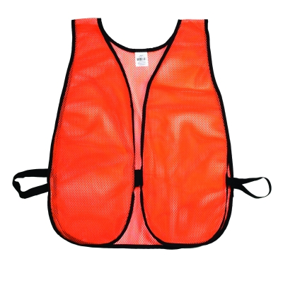 M16300-1, High Visibility Soft Poly Mesh Plain Safety Vest, Orange, Mutual Industries