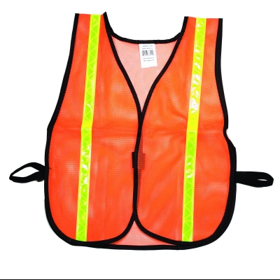 M16300-138-1000, High Visibility Soft Poly Mesh Safety Vest with 1 Lime/Yellow Reflective Stripe, Orange, Mutual Industries