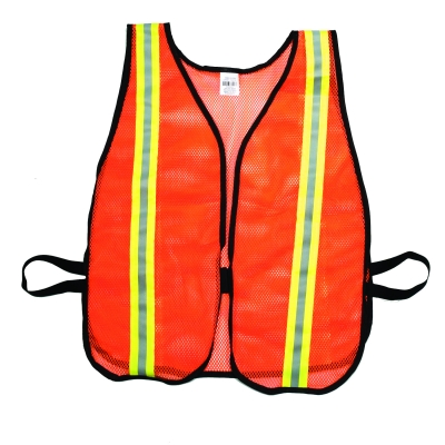 M16300-153-1500, High Visibility Soft Poly Mesh Safety Vest with 1-1/2 Lime/Silver/Lime Reflective Stripe, Orange, Mutual Industries
