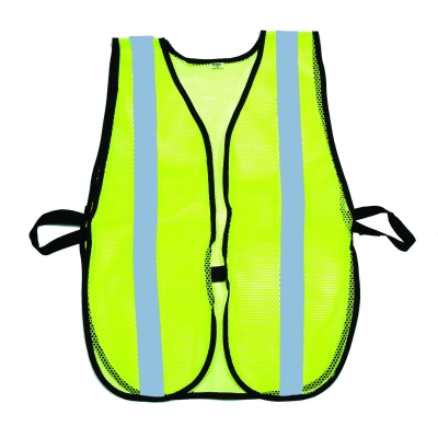 M16304-53-1000, High Visibility Soft Mesh Safety Vest with 1 Vertical Silver Reflective Stripe, Lime, Mutual Industries