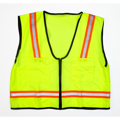 M16310-4553-7, MiViz High Visibility Mesh Back Surveyor Vest With Pocket, Lime, 4XLarge, Mutual Industries