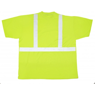 M16355-0-5, High Visibility Polyester ANSI Class 2 Safety Tee Shirt with 2 Reflective Silver Stripes, 2X-Large, Lime, Mutual Industries