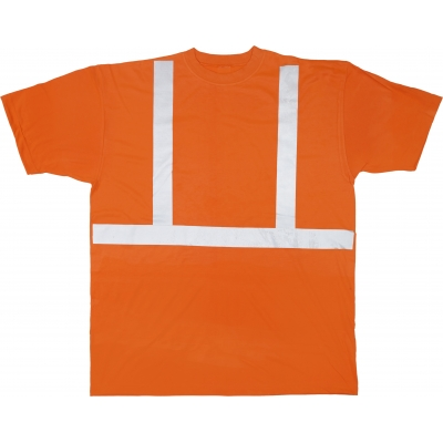 M16357-0-3, High Visibility Polyester ANSI Class 2 Safety Tee Shirt with 2 Reflective Silver Stripes, Large, Orange, Mutual Industries