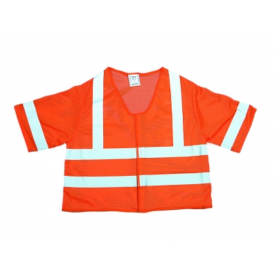 M16362-4, High Visibility Polyester ANSI Class 3 Mesh Safety Vest with 2 Silver Reflective Stripes, X-Large, Orange, Mega Safety Mart