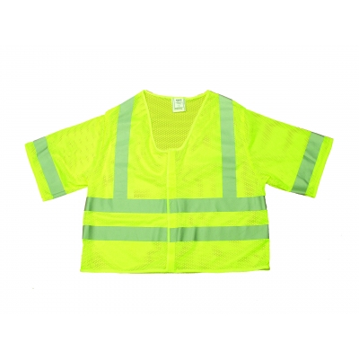 M16364-3, High Visibility Polyester ANSI Class 3 Mesh Safety Vest with 2 Silver Reflective Stripes, Large, Lime, Mutual Industries