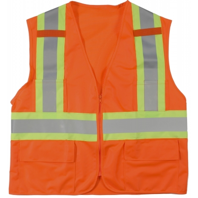 M16368-0-3, High Visibility Polyester ANSI Class 2 Surveyor Safety Vest with Pouch Pockets and 4 Lime/Silver/Lime Reflective Tape, Large, Orange, Mutual Industries