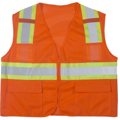 M16368-1-3, High Visibility Polyester ANSI Class 2 Surveyor Safety Vest with Pouch Pockets and 4 Lime/Silver/Lime Reflective Tape, Large, Orange, Mutual Industries