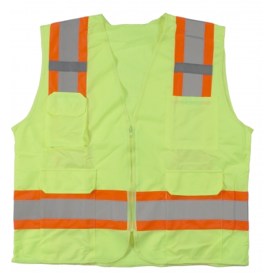 M16369-0-4, High Visibility Polyester ANSI Class 2 Surveyor Safety Vest with Pouch Pockets and 4 Lime/Silver/Lime Reflective Tape, X-Large, Orange, Mutual Industries
