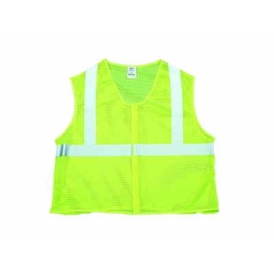 M16374-4 XL, High Visibility Polyester ANSI Class 2 Safety Vest with 2 Silver Reflective Tape, X-Large, Orange, Mutual Industries