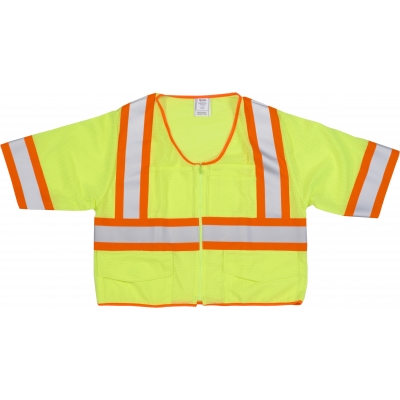 M16391-2, High Visibility ANSI Class 3 Mesh Vest with 4 Orange/Silver/Orange Reflective Tape, Medium, Lime, Mutual Industries