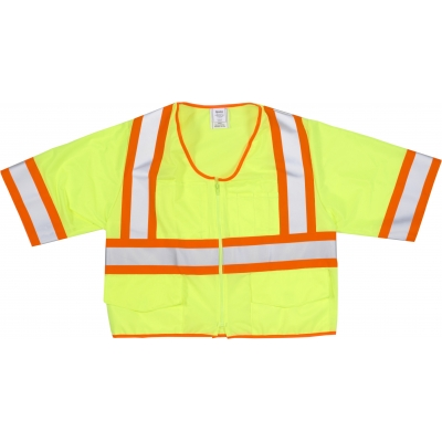 M16392-5, High Visibility ANSI Class 3 Solid Vest with Pocket and 4 Orange/Silver/Orange Reflective Tape, 2X-Large, Lime, Mega Safety Mart