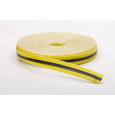 M17780-41091-750, Woven Barricade Tape, 50 yds Length X 3/4 Width, Black on Yellow, Mutual Industries