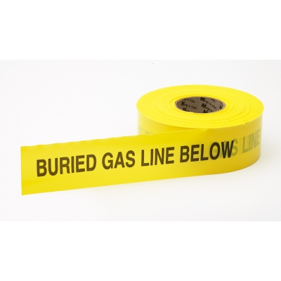 M17783-41-3000, Polyethylene Non Detectable Underground Gas Line Marking Tape, 4.5 mil Thickness, 1000' Length x 3 Width, Yellow, Mutual Industries