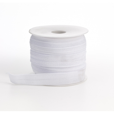 M3070-027, Foldover elastic, .625 in Wide, 25yds, White, Mutual Industries