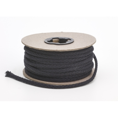 M4910-9999-025-25, Draw cord, Black 1/4 in cotton - 25 yards, Mutual Industries